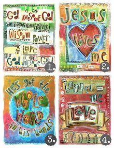 Set of 4, Scripture Sunday School Song Prints, 8 x10 Fine Art Print, Mixed Media Collage via Etsy