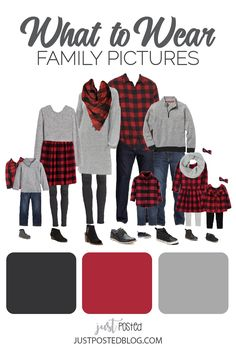 family photo outfits Black, Red and gray make up this picture perfect family look for Christmas photos! This link has 8 different options for what to wear for family pictures from Fall Family Picture Outfits, Christmas Pictures Outfits, Winter Family Pictures, Family Christmas Outfits, Family Portrait Outfits, Family Photo Colors, Family Pictures What To Wear, Family Outfits, Holiday Pictures
