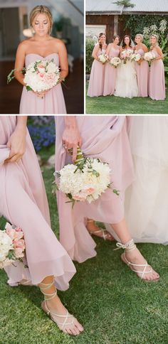 These long dresses are gorgeous! Long flowing dresses and Grecian sandals for the bridesmaids keep the look classy but not too formal while also being comfortable. Also great idea for an outdoor wedding so heels don't get stuck in the grass.... I love the dresses and bouquets