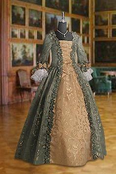 Medieval Renaissance Dress Bodice and Skirt Handmade from Baroque Damask | eBay