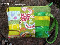 """""""Springy Feeling"""" quilted, zippered pouch by Tilkunviilaaja -- """"Kevättä pinnassa"""" -tilkkupussukka"""