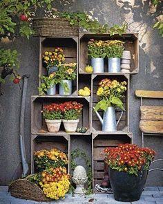 Patio Umbrellas and also Beach Umbrellas. Old Wooden Crates, Wooden Boxes, Little Gardens, Outside Patio, Container Flowers, Autumn Garden, Balcony Garden, Garden Inspiration, Container Gardening