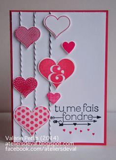 Bonjour,   Voici une carte de St Valentin, réalisée pour un challenge sur le forum a vos cartes         N'oubliez pas non plus de :         ...