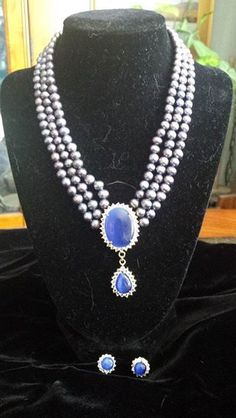 Victorian Edwardian Reproduction Necklace and Earrings $30 Grand Junction, CO (81501)  Victorian Edwardian reproduction necklace and earrings. Stones are royal blue, three strand beads are amethyst and blue tones. Stones are surrounded with rhinestones. Set is gold tone. Necklace is 16 inches. Earrings are pierced ear style posts. Never worn. $30 shipped ( US )