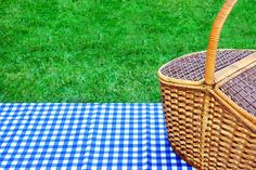 Perk up your next picnic with these deliciously different sandwiches and salads that are super easy to prepare, plus they can be made ahead. Checkered Tablecloth, Mom Blogs, Picnic, Basket, Blue And White, Stock Photos, Super Easy, Image, Salads