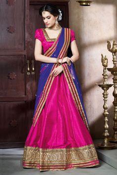 DesiButik Party Wear Alluring Pink Banglori Silk Lehenga