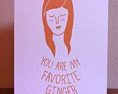 Ginger greeting card, handmade, red head, hand drawn greeting card. $4.00, via Etsy.