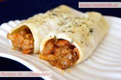 Canelones de carne picada y pasta fresca con bechamel