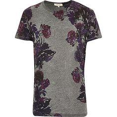 Grey floral print t-shirt - print t-shirts - t-shirts / vests - men