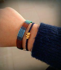 Macrame unisex bracelet, blue colors, colors of the sea