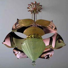 W A S Benson drop pendant light with copper reflector