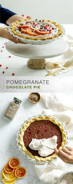Treat your guests to this one-of-a-kind pomegranate chocolate pie with cardamom pastry crust and pomegranate-infused vanilla whipped cream. Garnish with fresh orange slices, pomegranate seeds and shaved chocolate for a colorful and festive presentation.