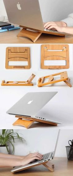 Foldable and Portable Wooden Laptop Folding Stand Holder for Apple MacBook Tablets iPad PC Laptop The Best Tablet Out! http://amzn.to/2vXjsW5