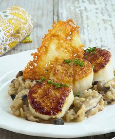 Jumbo Scallops with Mushroom Truffle Risotto. Chef'd fan favorite.  http://www.chefd.com/collections/all/products/jumbo-scallops