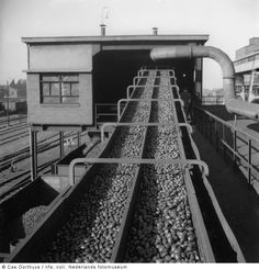 Transportband met eierbriketten, Staatsmijn Wilhelmina, Terwinselen (1939-1949)