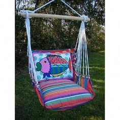Ordered this today! Le Jardin Stripe Swing Hammock With Fish Pillow Magnolia Casual Hammock Swing Chairs Hammock Indoor Hammock Chair, Diy Hammock, Hammocks, Outdoor Hammock, Outdoor Lounge, Outdoor Rooms, Outdoor Living, Outdoor Furniture, Outdoor Decor