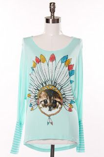 I'm unclear on Native American feline history; and I do not believe that this shirt sets anything straight, but it has cuteness on its side, I suppose.