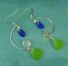 Sea Glass Earrings Sterling Silver Cobalt Blue by seaglassgems4you, $48.00