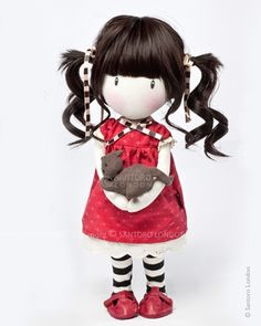 Gorjuss Cloth Doll - Ruby So sweet! I love her head and hair. Also her pet! Clay Dolls, Doll Toys, Little Doll, Little Girls, Doll Maker, Sewing Toys, Waldorf Dolls, Soft Dolls, Diy Doll