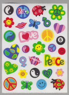 Sandylion Old MAXI Fuzzy Stickers Retro Symbols Peace Love smile ladybug heart flower power eight ball Retro Rare Vintage Scrapbook FR107 by stickersrarevintage on Etsy