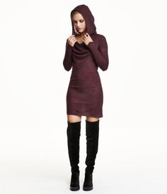 Short, fine-knit dress with hood, waterfall neckline, and long sleeves. Unlined.