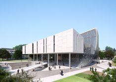 더 알아보려면 글을 방문하세요. Conceptual Design Architecture, Factory Architecture, Architecture Visualization, Facade Architecture, School Architecture, Landscape Architecture, Building Concept, Building Design, Building Ideas