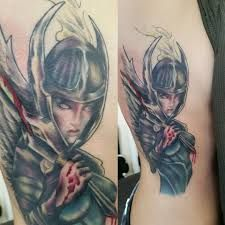 What does valkyrie tattoo mean? We have valkyrie tattoo ideas, designs, symbolism and we explain the meaning behind the tattoo. Half Sleeve Flower Tattoo, Flower Tattoos, Valkyrie Tattoo, Female Knight, Tattoos With Meaning, Game Character, Tatting, Original Art, Athens Georgia