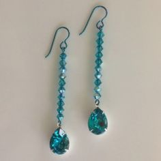 Sparkling Linear Teal Swarovski Crystal Earrings