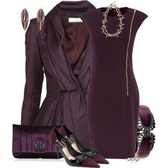 """""""Aubergine Office Attire Contest 3"""" by kginger on Polyvore"""
