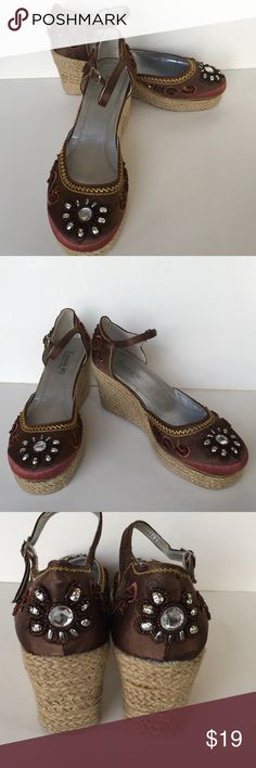 """Embroidered & Beaded Wedge Espadrilles Size 7 Adorable brown silk-like fabric espadrilles with jute wedgies with a Mary Jane style ankle strap! They are beautifully embroidered and beaded over the toe and heel areas. So unique and one-of-a-kind look they just HAVE TO BE this summer's go-to shoes!! Size 7  3"""" heels with 1"""" platform They measure 9"""" from toe to heel back on the sole. Used very little, as you can see!! Grab 'em -- they are so fun!!!! Forever 4U Shoes Espadrilles"""