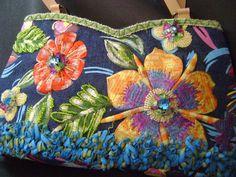Mary Frances Handbag Floral Beaded Embroidered Shoulder Purse Multi-Color Denim #MaryFrances #ShoulderBag