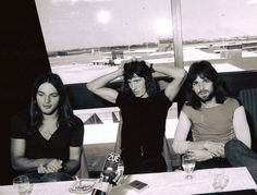 """David Gilmour, Roger Waters and Rick Wright during """" Atom Heart Mother World Tour """", 1971 ."""