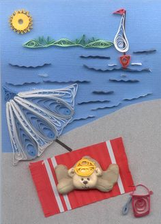 Such a cute quilled beach scene - quiller unknown