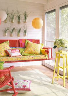 swing in a screened porch {bright colors}--this is so beautiful