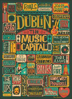 Gorgeous poster design combines characters and typography This live music poster for VisitDublin.ie features colourful characters and addictive type design. Musikfestival Poster, City Poster, Poster Design Inspiration, Typography Inspiration, Poster Ideas, Poster Designs, Design Posters, Event Posters, Concert Posters