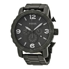 Fossil Nate Chronograph Black Dial Black Ion-plated Mens Watch JR1401 691464937362 | eBay