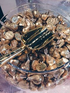 Gold candy for a candy bar at a Great Gatsby party.