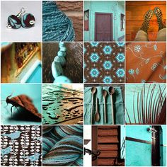 Turquoise and Brown - living room colors
