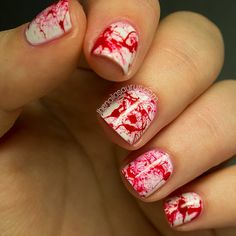 31DC2013 Day 24: Inspired by a Book... Darkly Dreaming Dexter. Red splatter nails / nail art