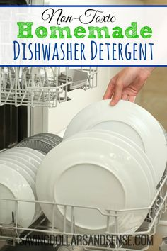 Try this Homemade Dishwasher Detergent that only uses Common Non-Toxic Household ingredients.
