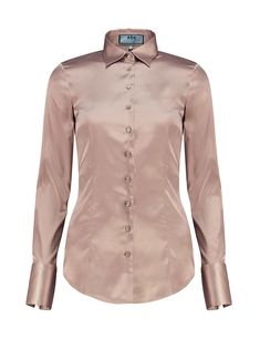 906ac732c307a Women s Taupe Fitted Satin Shirt - Single Cuff