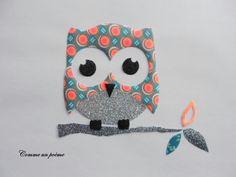 Appliqué thermocollant Le hibou rigolo tissu petit pan : Autres pièces pour créations par comme-un-poeme