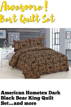 American Hometex Dark Black Bear King Quilt Set ... (This is an affiliate link) #quiltsets
