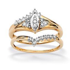 Two-tone diamond wedding ring set10-karat yellow gold jewelryClick here for ring sizing guide