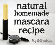 Natural Mascara Recipe - This DIY natural mascara combines black mineral powder, bentonite clay, aloe vera, vegetable glycerine and lavender essential oil for an amazing mascara!