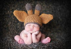 Baby Giraffe Hat in Camel Caramel and Brown Baby by dianirasoto