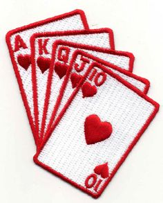 Playing cards iron on applique patch - gambling straight flush fully embroidered