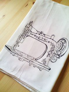 Vintage Sewing Machine Screen Printed Kitchen by TheCoinLaundry, $9.00