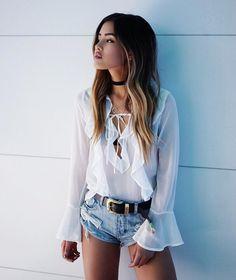 Deep V white lace blouse shirt