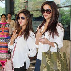 Riya Sen with sister Raima Sen at the Mumbai   airport. #Bollywood #Fashion #Style #Beauty #Hot #Bengali
